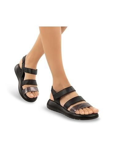 Muya Sadira Anatomik Hakiki Deri Kadın Sandalet Siyah